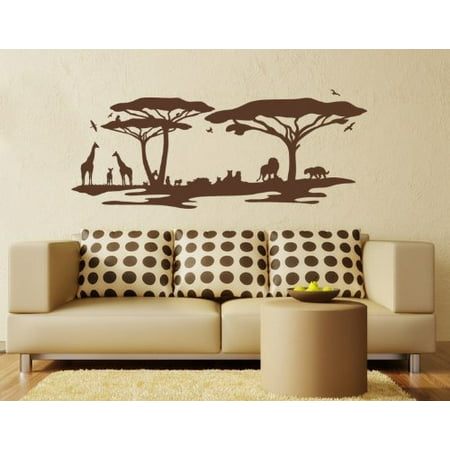 - African Savannah Landscape Wall Decal - wall decal, sticker, mural vinyl art home decor - 3823 - White, 24in x 9in