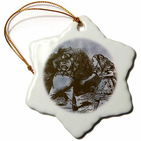 3dRose Alice in Wonderland Tweedle Dee and Dum Vintage - Snowflake Ornament, 3-inch - Tweedle Dee And Tweedle Dum Hats