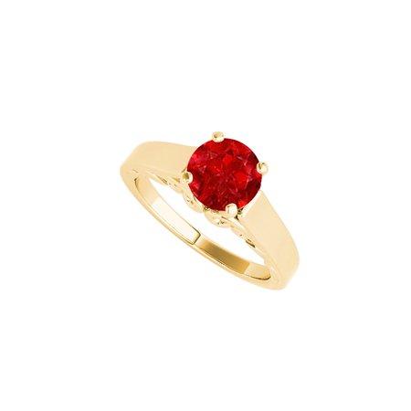 1.00 Carat Ruby Solitaire Ring 18K Yellow Gold Vermeil - image 2 de 2