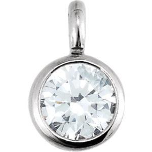 Jewels By Lux 14k White Gold Diamond 3 mm I1/G-H Polished Round Diamond Micro Bezel Link 3 Stone Semi Bezel