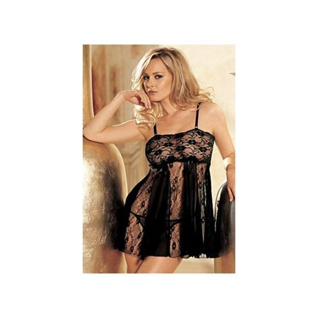 Shirley of Hollywood Stretch Lace & Sheer Net Babydoll 96120 Black One Size Fits, One Size Fits -