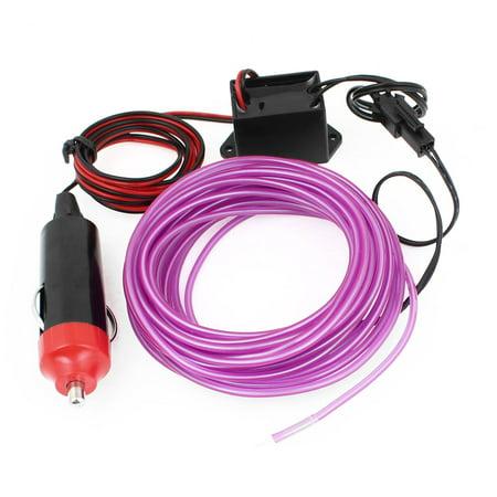 Unique Bargains Xmas Flexible Decorative EL Wire Purple 5M Neon Lamp w Car Charger