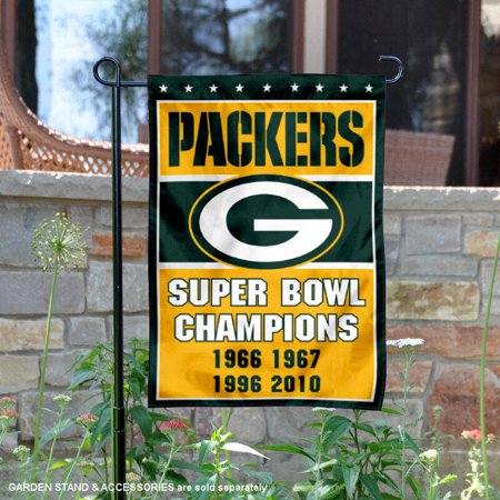 Green Bay Packers 4 Time Super Bowl Champions 12 5   X 18   Large Nfl Garden Flag