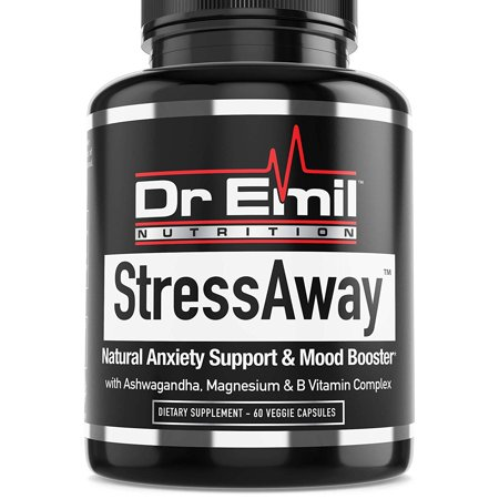 Dr. Emil StressAway - Natural Anxiety Relief Supplement with Ashwagandha, 5-HTP & L Theanine - Supports Anti Anxiety, Stress Relief & Mood Boost (60 Veggie