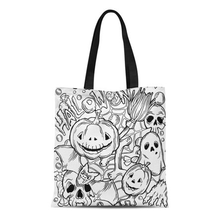 LADDKE Canvas Tote Bag Coloring Halloween Pattern Ghost Pumpkins Bat and Broom Black Reusable Shoulder Grocery Shopping Bags Handbag - Halloween Purses And Handbags