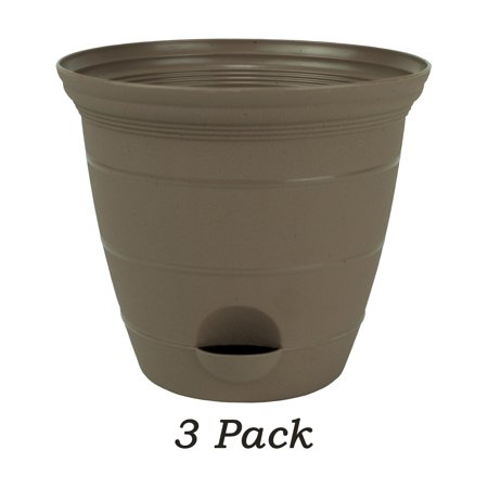 3 Pack 12 Inch Plastic Self Watering Flower Plant Pot Garden Potted Planter, Sandalwood