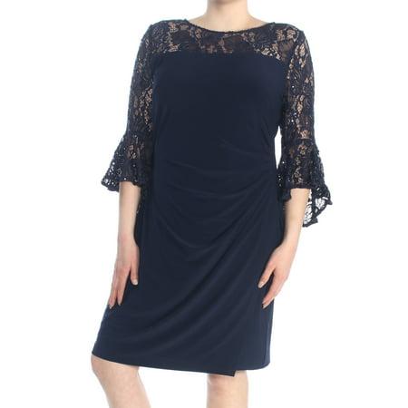 Ralph Lauren Womens Navy Lace Bell Sleeve Jewel Neck Wrap Dress Formal Dress Size 18