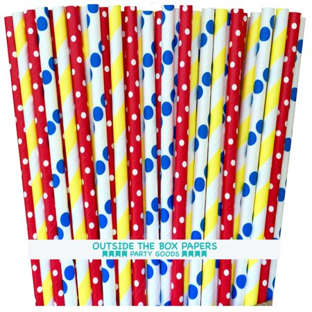 Red, Yellow and Blue Polka Dot Paper Straws - Circus Theme- 75
