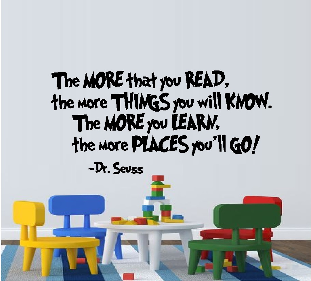 "The MORE that you READ:  WALL  DECAL, Dr. Seuss Theme HOME DECOR 13"" X 25"""