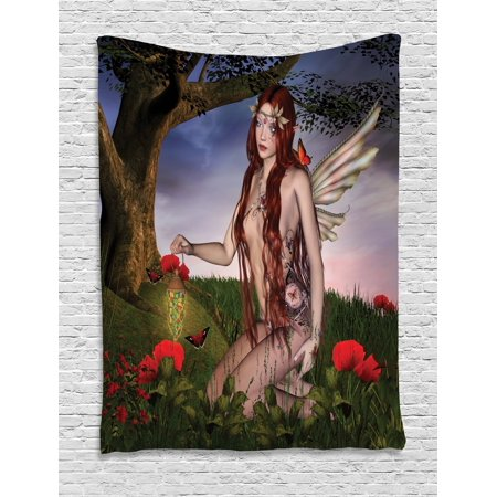 Fantasy Tapestry  Redhead Fairy With Wings Holding A Butterfly Catcher Lantern Surrounded By Poppies  Wall Hanging For Bedroom Living Room Dorm Decor  40W X 60L Inches  Multicolor  By Ambesonne