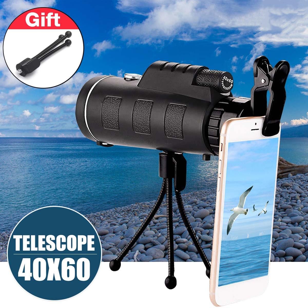 16x52/40x60 HD Waterproof Universal Phone Telescope,Focus Zoom Optical Lens Monocular Telescope+ Tripod + Mini Clip for Outdoor Camping Hunting Traveling