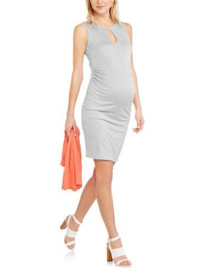 Glamour & Co. Maternity Sleeveless Key Hole Midi Dress with Flattering Side Rouching