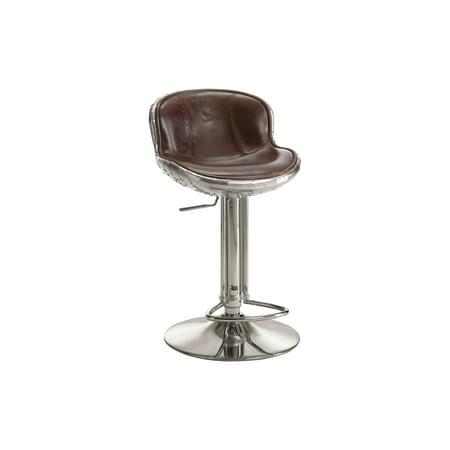 Acme Furniture Brancaster Adjustable Swivel Stool, Vintage Brown Leather & Aluminum Cafe Aluminum Bar Stool