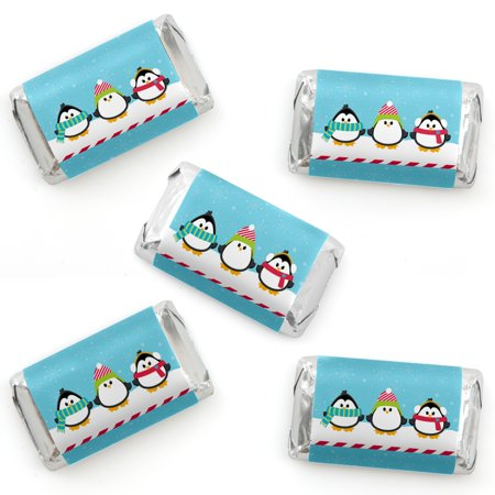 Holly Jolly Penguin - Mini Candy Bar Wrapper Stickers - Holiday & Christmas Party Small Favors - 40 -