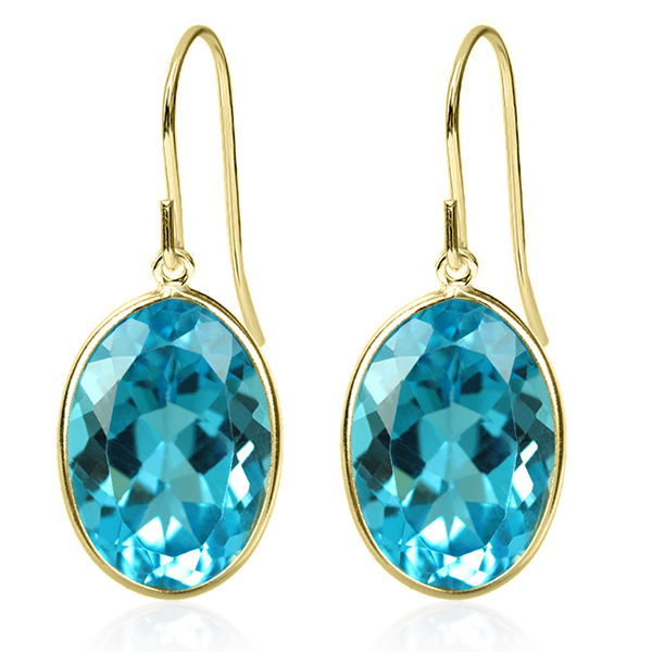 14.00 Ct Swiss Blue Topaz Oval Cut Solid 14K Yellow Gold Earrings