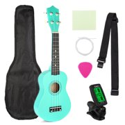 21'' Acoustic Basswood Ukulele Starter Kit All-Inclusive Set w/ Carring Bag, Strap, Picks, Clip-On Tuner, Extra String - Fit for Kids Children Christmas New Year Gift [8 Colors]