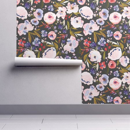Removable Water-Activated Wallpaper Nighttime Floral Floral Flowers Baby