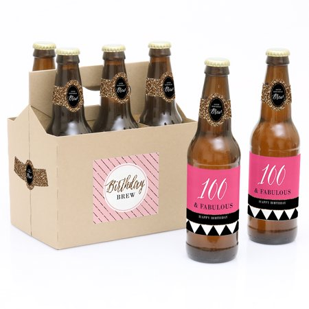 Label Carrier - Chic 100th Birthday - 6 Birthday Party Beer Bottle Labels with 1 Beer Carrier
