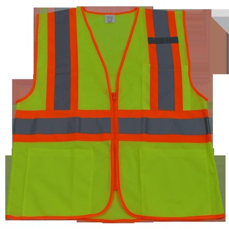 Petra Roc LVM2-CB1-S-M Safety Vest Ansi Class Ii Lime Mesh & Orange Contrast Binding 3-4 Pockets Zipper Closure, Small &