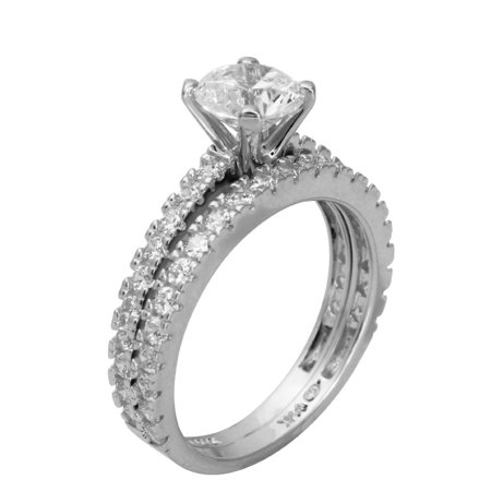 - 2.50 Ct 14K Real White Gold Round Cut with Pave Set Side Stones Matching Band 4 Prong Cathedral Setting Engagement Wedding Propose Promise Ring Duo 2 Ring Set
