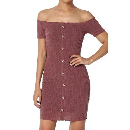 f66856ecc783 TheMogan - TheMogan Junior s Short Sleeve Off Shoulder Stretch Ribbed Knit  Bodycon Mini Dress - Walmart.com