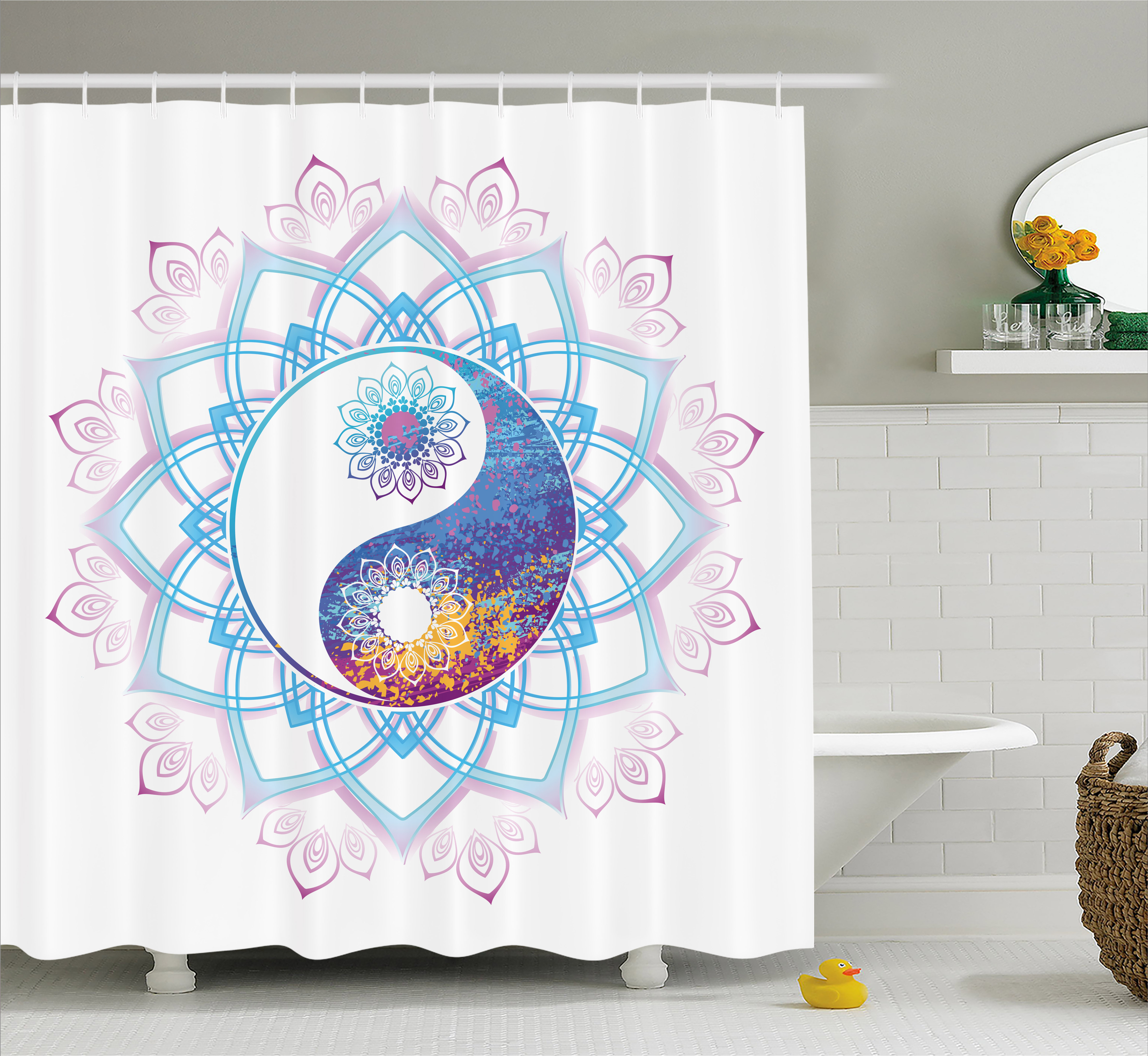 India Shower Curtain, Yin Yang Symbol Mandala Hippie Asian Design With  Floral Swirl Frame Image, Fabric Bathroom Set With Hooks, 69W X 84L Inches  ...