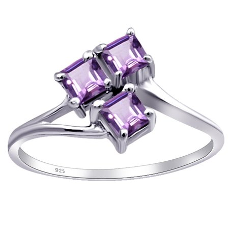 0.48 Carat Genuine Purple Amethyst Square Cut Engagement Sterling Silver Ring For Women by Orchid Jewelry