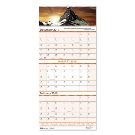 House of Doolittle Recycled Scenic Landscapes Three-Months/Page Wall Calendar, 12.25x26, - Landscapes 2010 Calendar