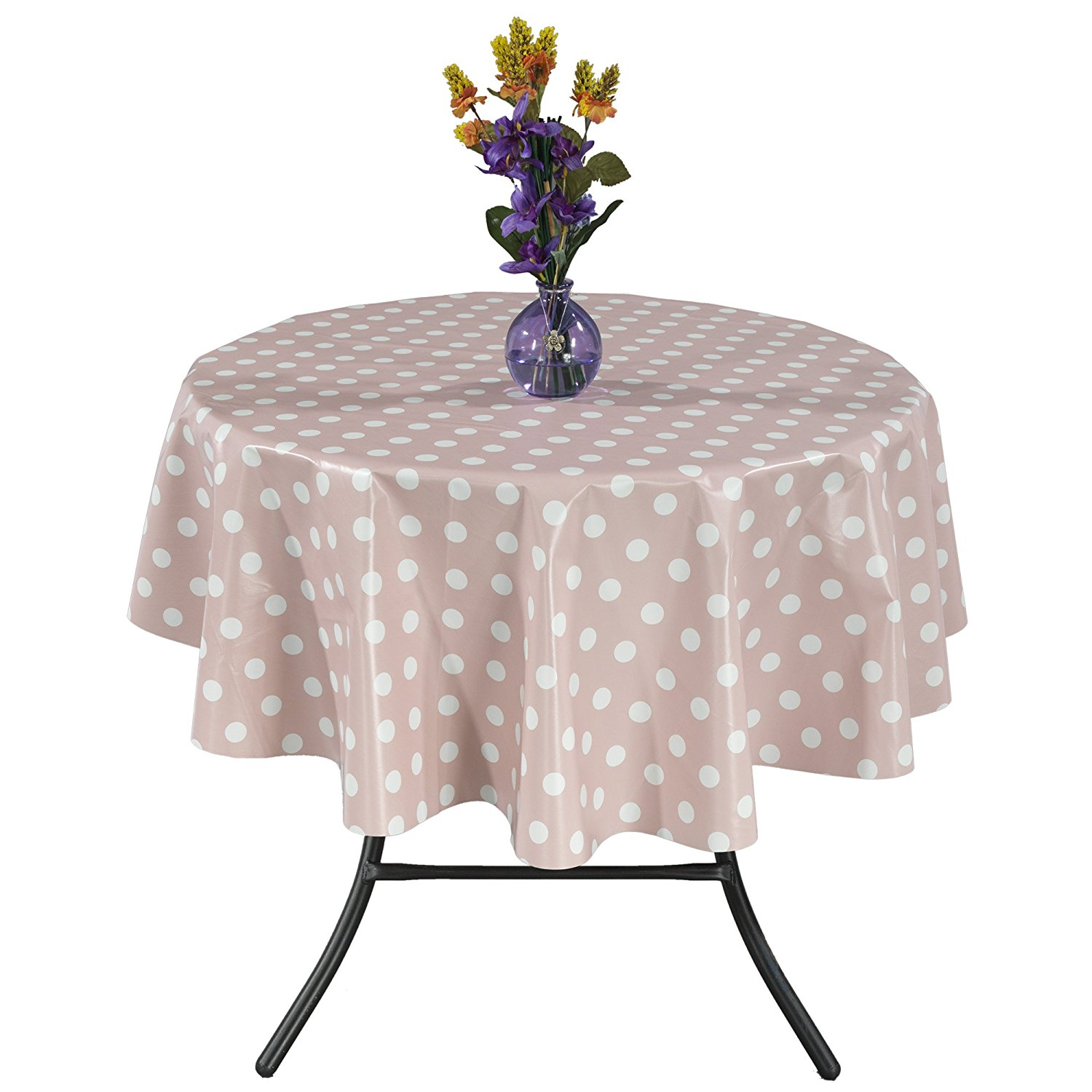 "Ottomanson Vinyl Polka Dot Design 55"" Round Indoor & Outdoor Tablecloth Non-Woven Backing"
