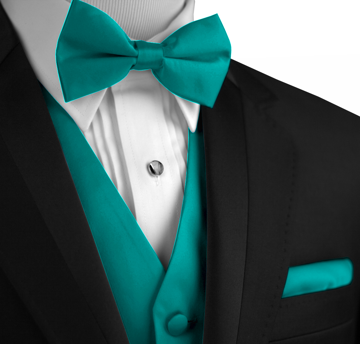 Italian Design, Men's Tuxedo Vest, Bow-Tie & Hankie Set in Oasis
