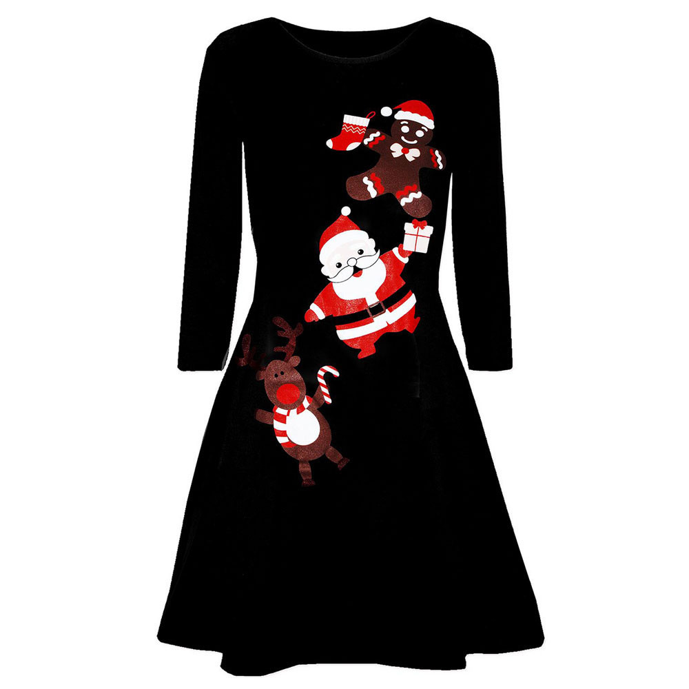 Mosunx Women Christmas Printed Long Sleeve Evening Prom Costume Swing Dress