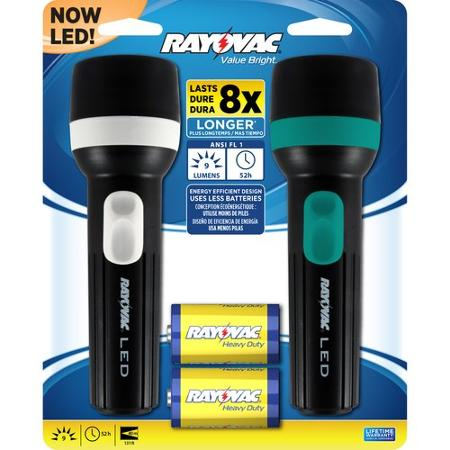 Rayovac Value Bright 1D LED Flashlight, 2-Pack   Free Shipping