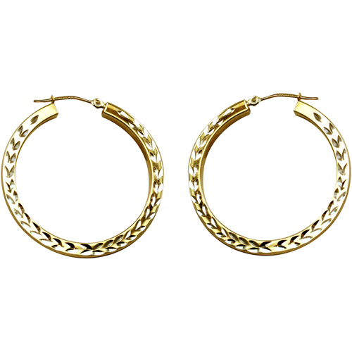 Love, Earth Hoop Earrings with Leaf and Heart Design