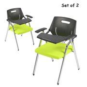 KARMAS PRODUCT 2 Pack Premium Steel School Chair Folding Office Chair with Arm Desk Chair with Table Arm Desk,Green & Black