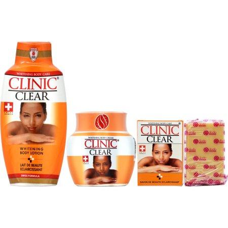 Clinic Clear Whitening Body Lotion 16.9oz + Cream jar 11.6oz + Soap