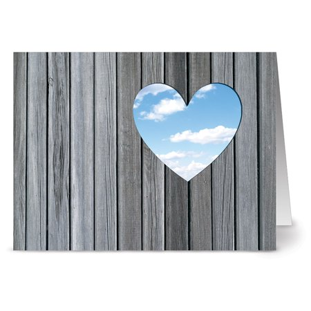 24 Note Cards - A Heart with a View - Blank Cards - Red Envelopes Included