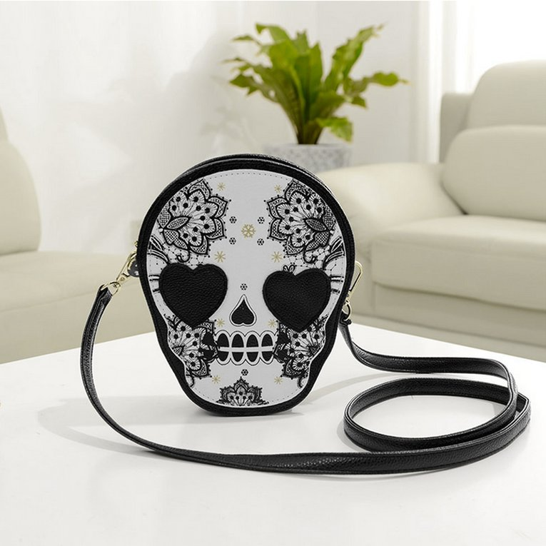 Mini Cute Popular Unique Style Women Mini PU Purse Skull Pattern Shoulder Handbag Satchel Bag