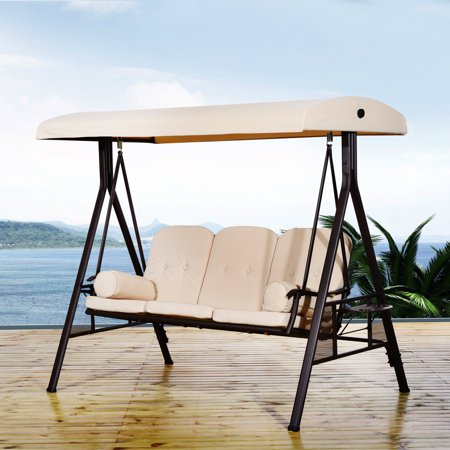 Outsunny 3 Person Steel Canopy Porch Swing With Side Tables