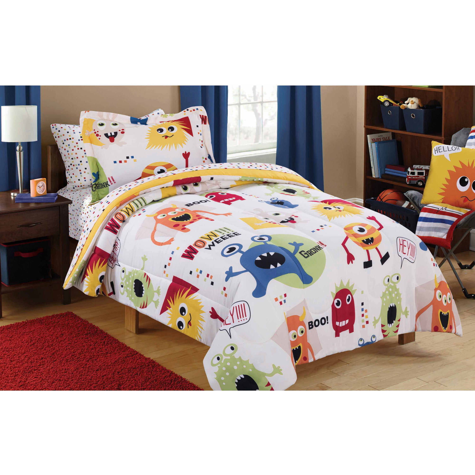 Click here to buy Mainstays Kids Monster Mix Bed in a Bag Coordinating Bedding Set by Keeco, LLC.