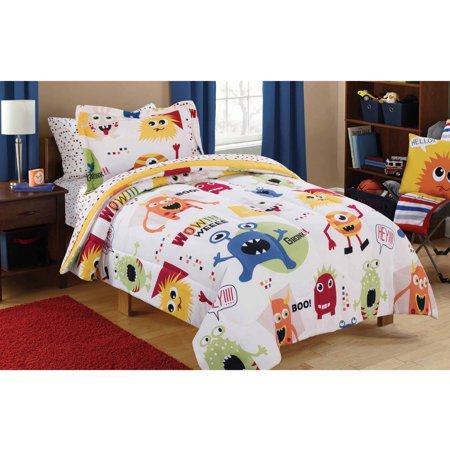 Mainstays Kids Monster Mix Bed in a Bag Coordinating Bedding Set - Halloween Mix Monster Mash