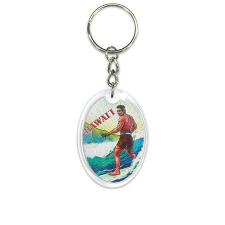 Hawaii Acrylic Foil Keychain Vintage Surf (Surf Keychain)
