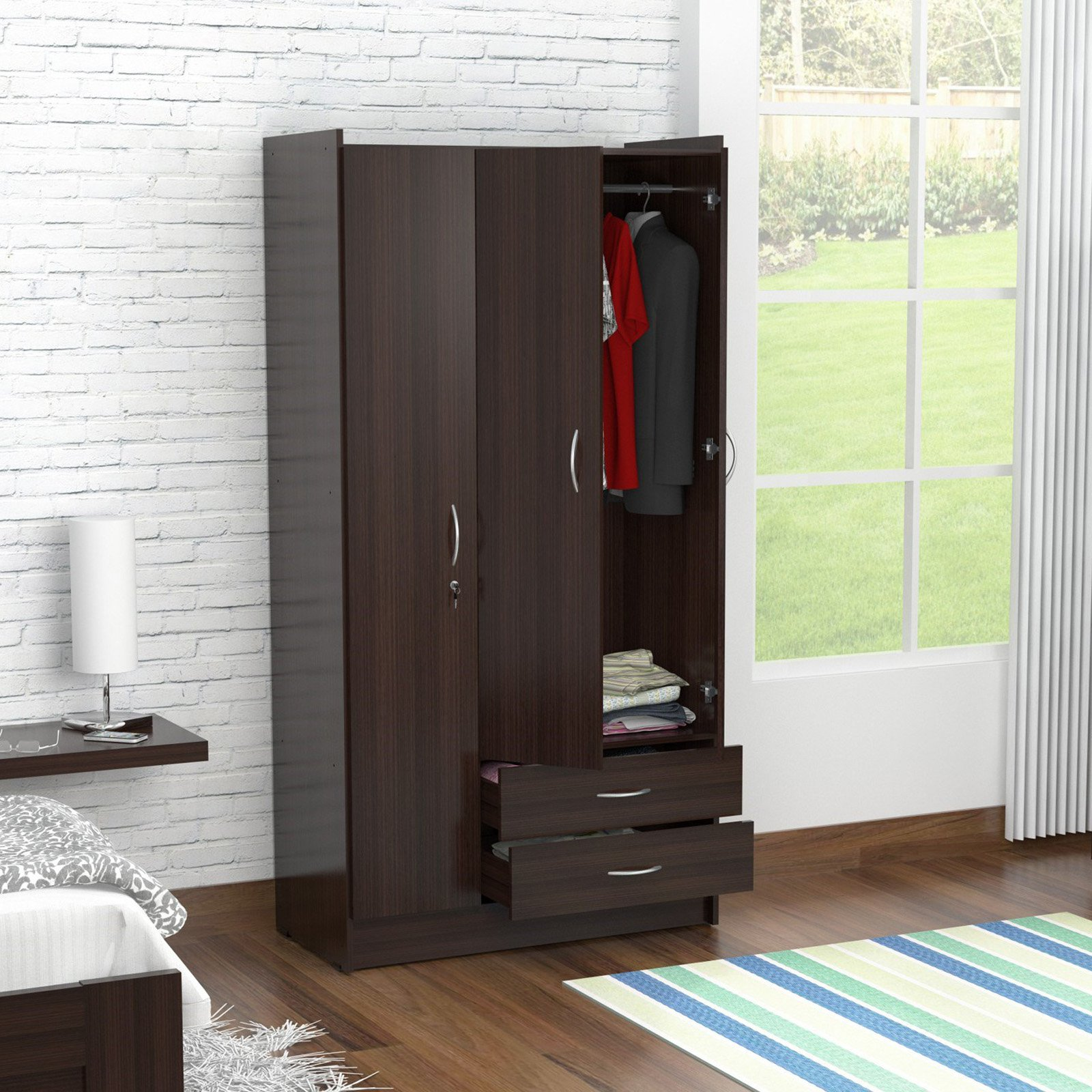 Inval Three Door Wardrobe Armoire, Espresso-Wengue Finish by Inval