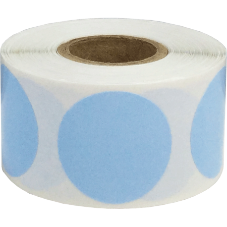 Color Coding Labels Baby Blue Round Circle Dots 1 1/4 Inch 500 Total Adhesive - Blue Circle Dot