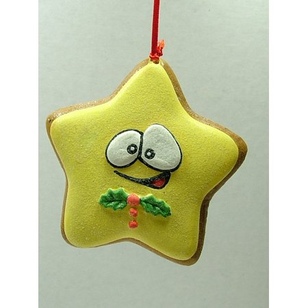 Star Frosted Yellow Cute Sugar Cookie Baker Holly Christmas Tree Ornament A By On Holiday Ship from