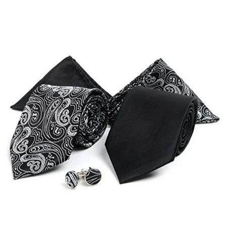 Necktie Cufflink Handkerchief Set Combo Plain Color /& Designer Tie Cufflink Set