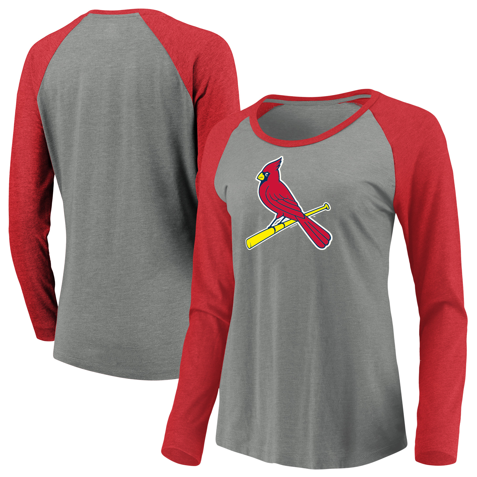 Women's Majestic Heathered Gray St. Louis Cardinals Must Win Tri-Blend Raglan Long Sleeve T-Shirt