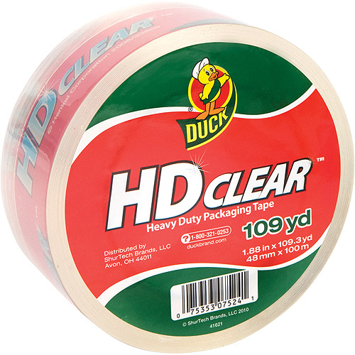 """Duck 1.88"""" x 109 yds High Performance Tape, Clear"""