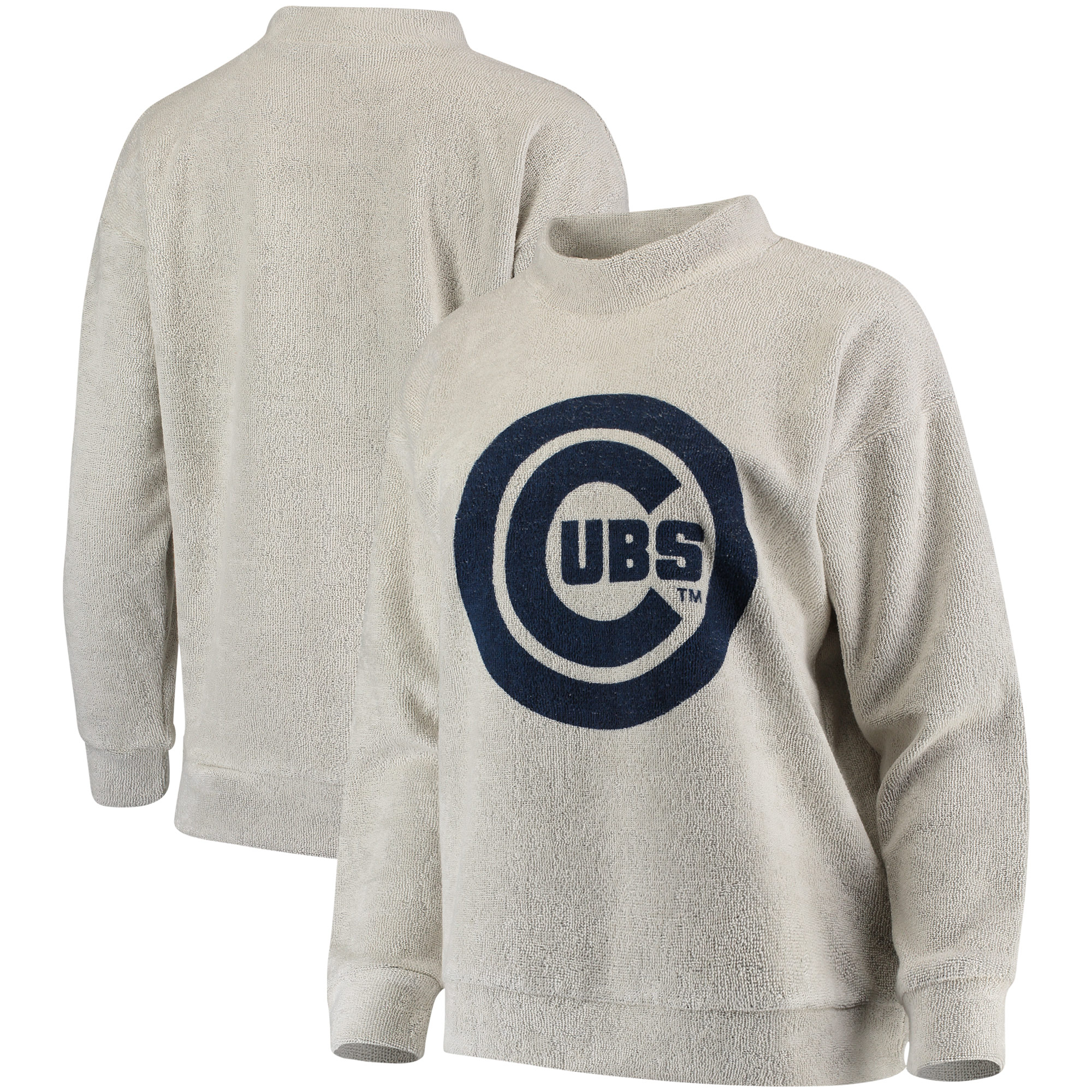 Chicago Cubs Women's Big Logo Crew Neck Pullover Sweater - Cream