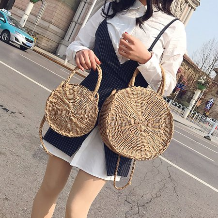 ZeAofaCreative Straw Weave Round Messenger Bag Women Casual Summer Beach Tote Handbag