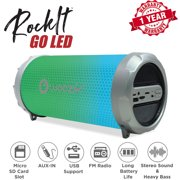 Woozik S213 Portable Loud Party Indoor Outdoor Bluetooth Speaker with Dancing LED Lights, Micro SD Card, USB, AUX, FM Radio, Rechargeable Battery, Strap